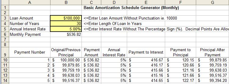 free amortization schedule mortgage payment calculator